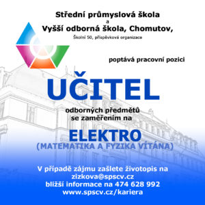 Učitel odborných předmětů se zaměřením na ELEKTRO (Matematika a fyzika vítána)