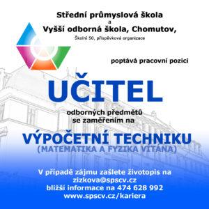 Učitel odborných předmětů se zaměřením na VÝPOČETNÍ TECHNIKA (Matematika a fyzika vítána)